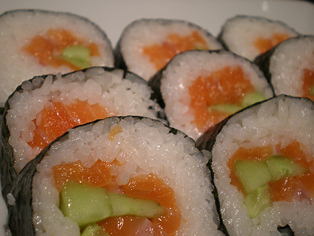 Smoked Salmon and Cucumber Sushi