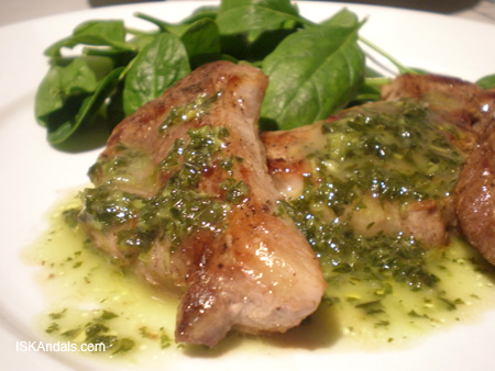 Pan-fried Lamb Steak in Mint Sauce