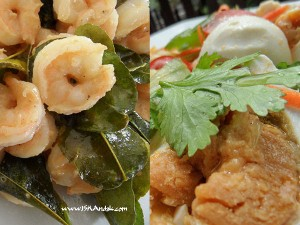 Salted Egg Sauce on Prawns and Slated Egg & Tomato Salad